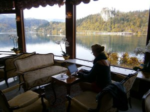 Working on laptop in a hotel lounge at Bled