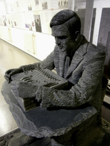 Slate sculpture of Alan Turing